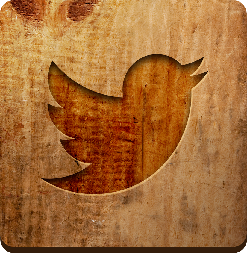 Twitter icon with wood background